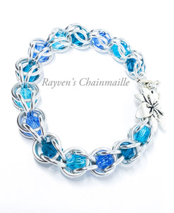 Silver & Blue Captured Crystal Chainmaille Bracelet - Rayven's Chainmaille