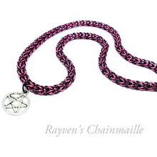Load image into Gallery viewer, Pink & Black Foxtail Chainmaille Pentacle Necklace - Rayven's Chainmaille