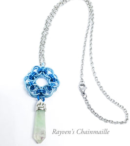 Rayven's Chainmaille| Natural Amethyst Blue Crystal Helm Chainmaille Necklace