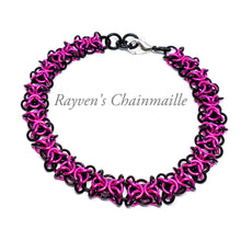 Load image into Gallery viewer, Black & Hot Pink Orc Weave Chainmaille Bracelet - Rayven's Chainmaille