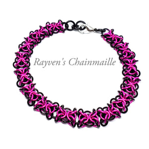 Black & Hot Pink Orc Weave Chainmaille Bracelet - Rayven's Chainmaille
