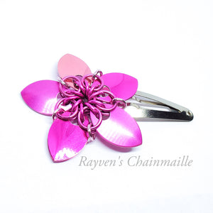 Rayven's Chainmaille - Pink Scalemaille Flower Hair Clips