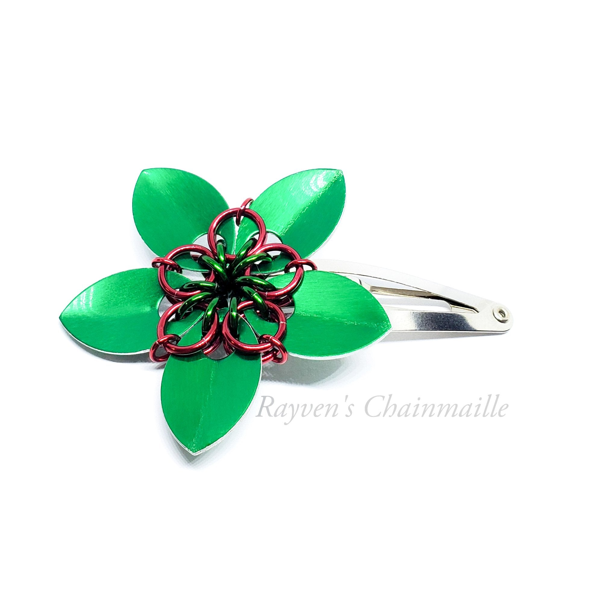 Rayven's Chainmaille - Christmas Scalemaille Flower Hair Clips