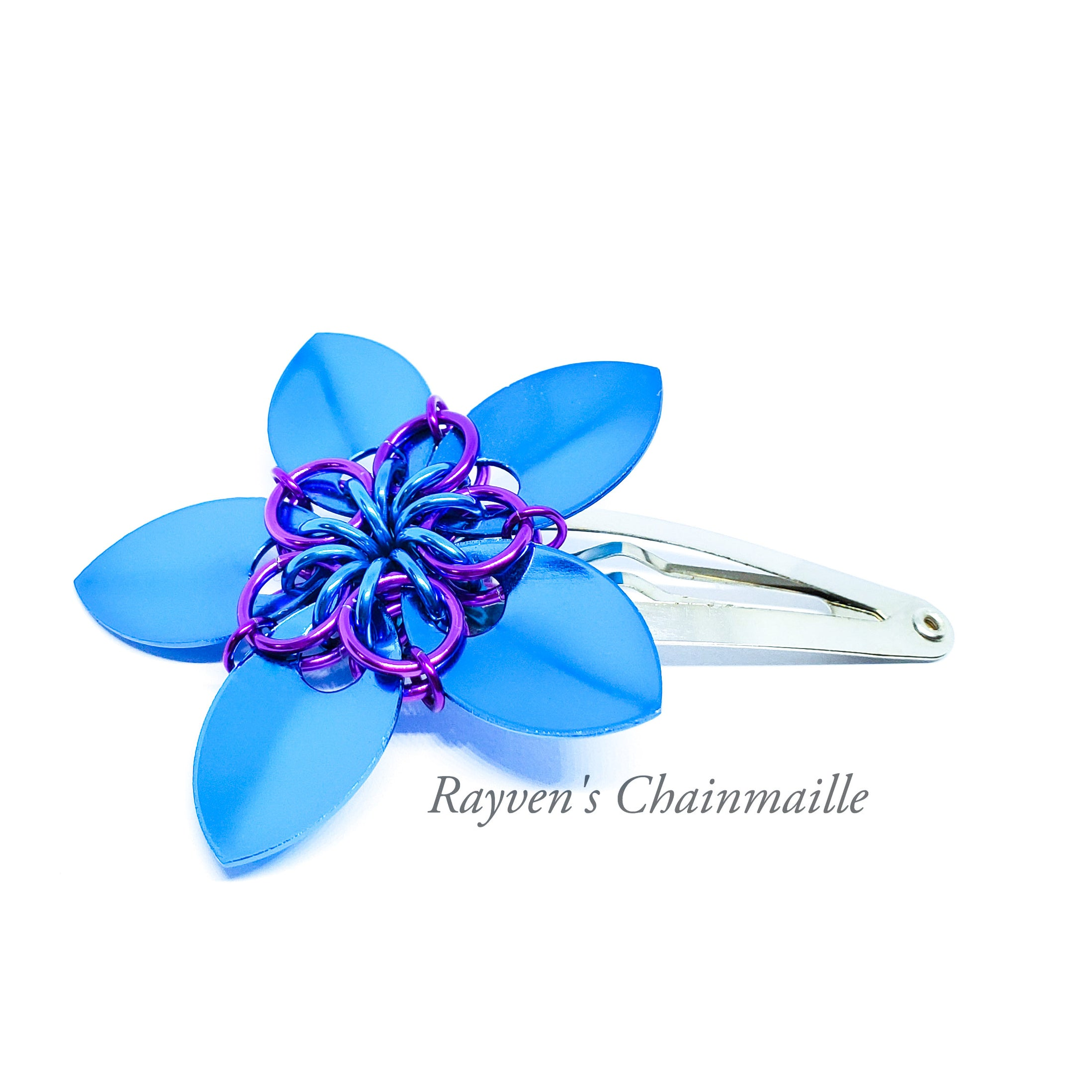 Rayven's Chainmaille - Turquoise and Violet Scalemaille Flower Hair Clips