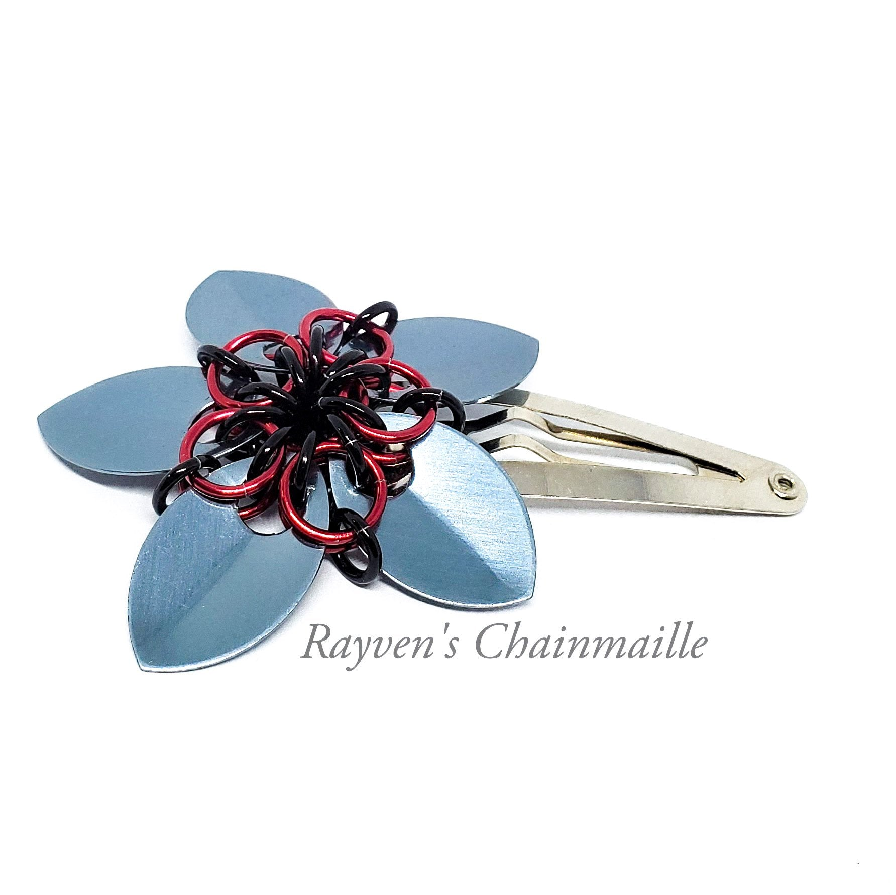 Scalemaille Flower Chainmail Hair Clips - Rayven's Chainmaille