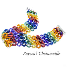 Load image into Gallery viewer, Rainbow Locked Mobius Chainmaille Bracelet - Rayven's Chainmaille