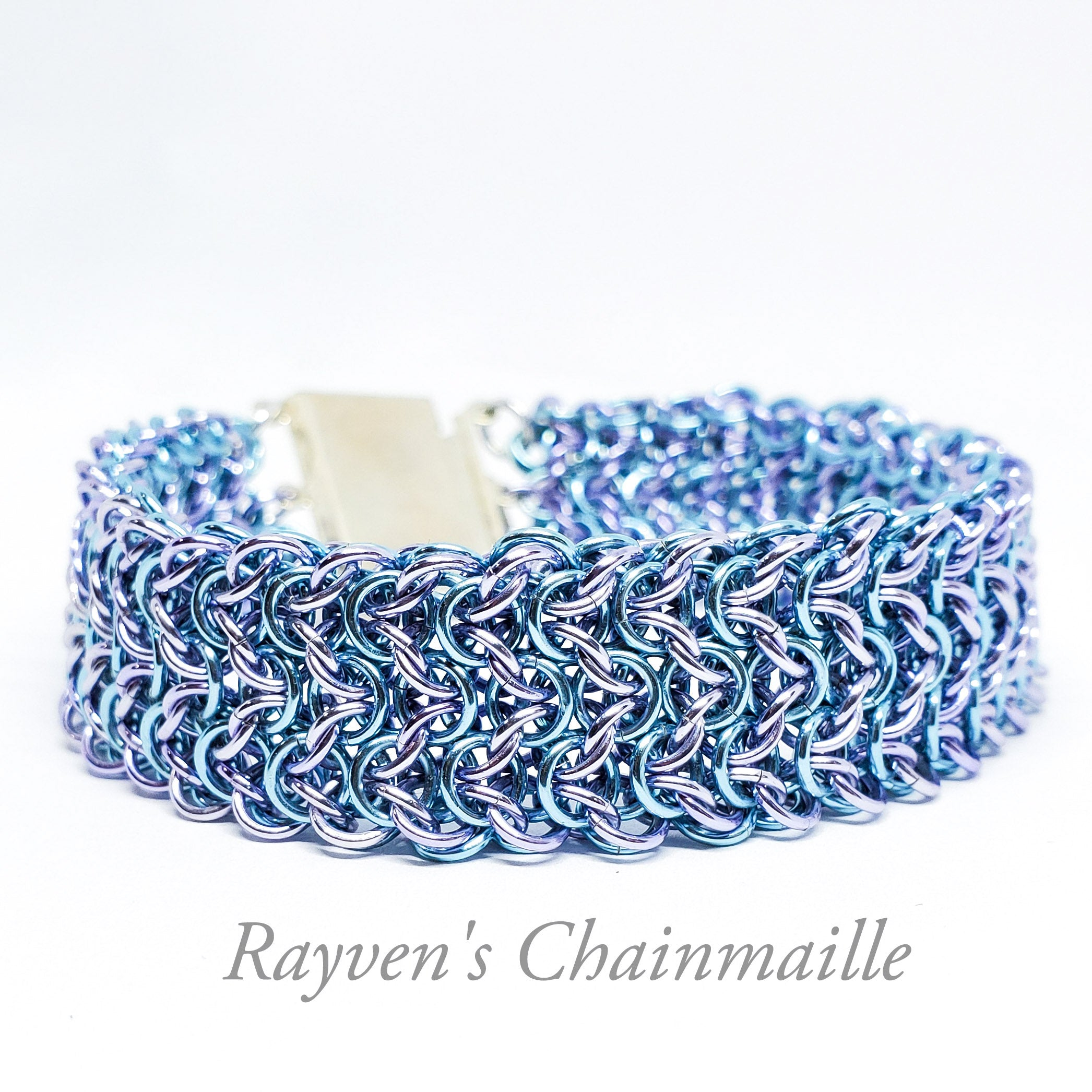 Lavender & Sky Blue Elf Weave Chainmaille Bracelet - Rayven's Chainmaille