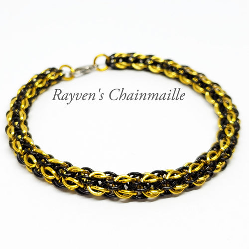 Rayven's Chainmaille| Yellow & Black Candy Cane Cord Chainmaille Bracelet