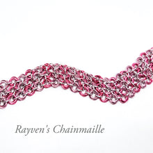 Load image into Gallery viewer, Pink Locked Mobius Chainmaille Bracelet - Rayven's Chainmaille
