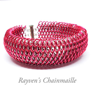 Pink & Silver Dragonscale Chainmaille Bracelet - Rayven's Chainmaille