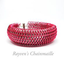 Load image into Gallery viewer, Pink & Silver Dragonscale Chainmaille Bracelet - Rayven's Chainmaille