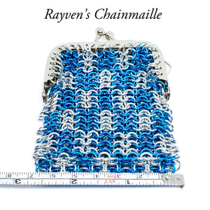 Silver & Turquoise Medium Chainmail Coin Purse - Rayven's Chainmaille