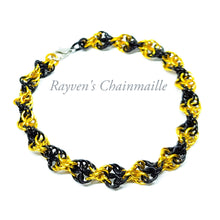 Load image into Gallery viewer, Rayven's Chainmaille| Black & Gold Double Helix Chainmaille Bracelet