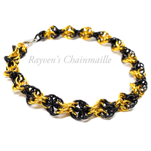 Rayven's Chainmaille| Black & Gold Double Helix Chainmaille Bracelet