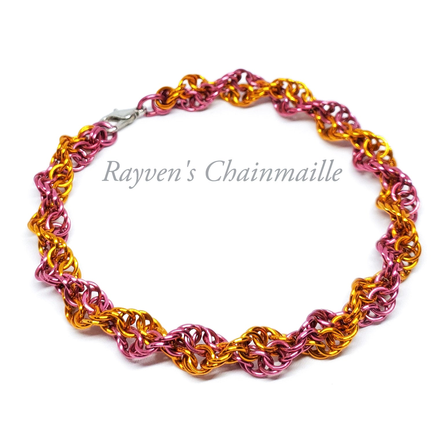 Rayven's Chainmaille| Orange & Dark Rose Double Helix Chainmaille Bracelet