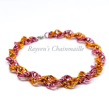 Load image into Gallery viewer, Rayven's Chainmaille| Orange & Dark Rose Double Helix Chainmaille Bracelet