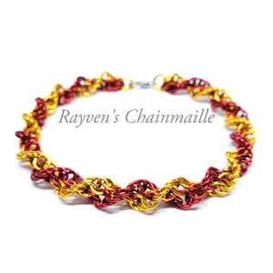 Rayven's Chainmaille| Red & Gold Double Helix Chainmaille Bracelet