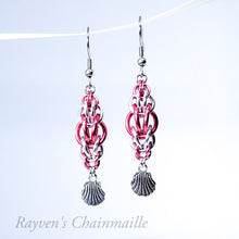 Load image into Gallery viewer, Pink & Silver Rounded Foxtail Chainmail Earrings - Rayven's Chainmaille