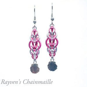 Pink & Silver Rounded Foxtail Chainmail Earrings - Rayven's Chainmaille