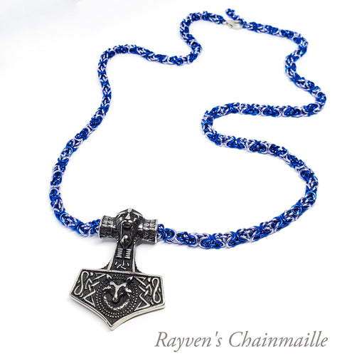 Odin Mjölnir Hammer Fenrir Chainmaille Necklace - Rayven's Chainmaille