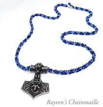 Load image into Gallery viewer, Odin Mjölnir Hammer Fenrir Chainmaille Necklace - Rayven's Chainmaille