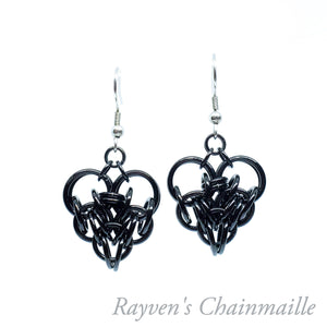 Large Chainmaille Heart Earrings