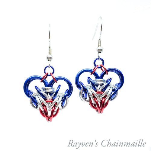 Rayven's Chainmaille| Red White Blue Persian Heart Chainmail Earrings