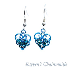 Load image into Gallery viewer, Rayven's Chainmaille| Teal & Turquoise Persian Heart Chainmail Earrings