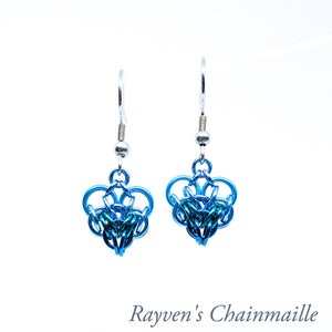 Rayven's Chainmaille| Teal & Turquoise Persian Heart Chainmail Earrings