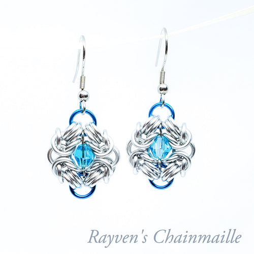 Silver & Turquois Chainmail Swarovski Crystal Romanov Earrings - Rayven's Chainmaille
