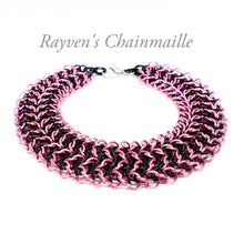 Load image into Gallery viewer, Pink & Black Elf Sheet Chainmail Bracelet - Rayven's Chainmaille