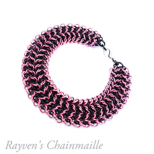 Pink & Black Elf Sheet Chainmail Bracelet - Rayven's Chainmaille