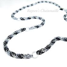 Load image into Gallery viewer, Black, Gunmetal, & Silver Wolf Foxtail Half Persian Chainmail Necklace - Rayven's Chainmaille