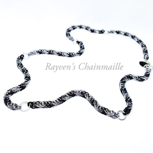Black, Gunmetal, & Silver Wolf Foxtail Half Persian Chainmail Necklace - Rayven's Chainmaille