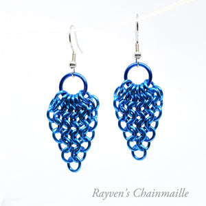 Blue Gathered European 4-1 Chainmaille Earrings