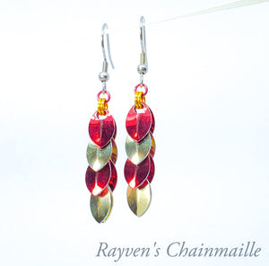 Gryffindor Red & Gold Scaled Chainmaille Earrings - Rayven's Chainmaille