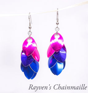 Bisexual Pride Scalemaille Earrings - Rayven's Chainmaille