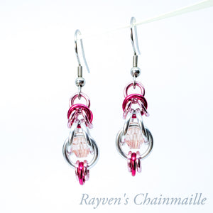 Silver & Pink Crystal Capture Chainmaille Earrings - Rayven's Chainmaille