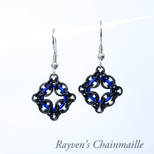 Load image into Gallery viewer, Rayven's Chainmaille| Blue & Black Celtic Labyrinth Chainmaille Earrings
