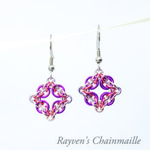 Load image into Gallery viewer, Rayven's Chainmaille| Violet & Pink Celtic Labyrinth Chainmaille Earrings
