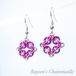 Rayven's Chainmaille| Violet & Pink Celtic Labyrinth Chainmaille Earrings