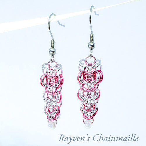 Rayven's Chainmaille| Pink & Silver Elven Ivy Chainmaille Earrings