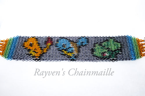 Pokemon Starter Squad Micromaille Inlay Bracelet - Rayven's Chainmaille