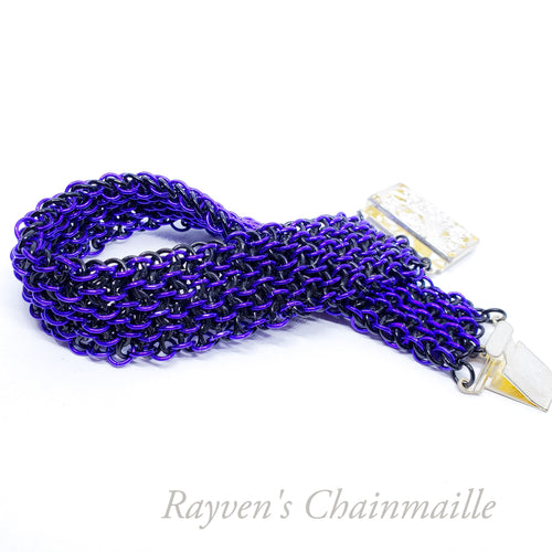 Purple & Black Vipera Berus Chainmaille Bracelet - Rayven's Chainmaille