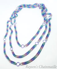 Load image into Gallery viewer, Unicorn Rainbow 64 inch Claspless Half Persian Foxtail Chainmaille Necklace - Rayven's Chainmaille