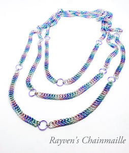 Unicorn Rainbow 64 inch Claspless Half Persian Foxtail Chainmaille Necklace - Rayven's Chainmaille