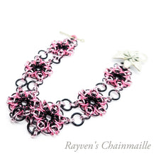 Load image into Gallery viewer, Pink and Black Celtic Flower Chainmail Bracelet - Rayven's Chainmaille