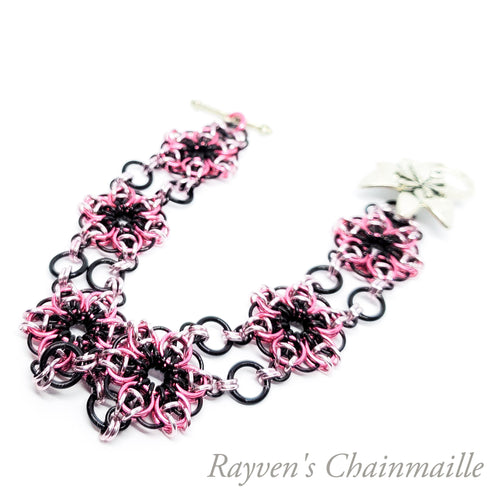 Pink and Black Celtic Flower Chainmail Bracelet - Rayven's Chainmaille