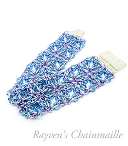 Blue & Lavender Celtic Labyrinth Chainmaille Bracelet - Rayven's Chainmaille