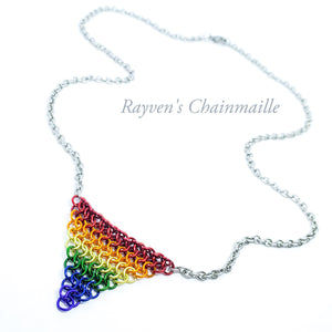 Rayven's Chainmaille| Rainbow Pride Chainmail Necklace